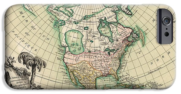 North Drawings iPhone Cases - Antique Map of North America by Jean Janvier - 1762 iPhone Case by Blue Monocle