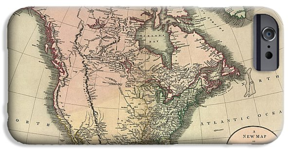 North Drawings iPhone Cases - Antique Map of North America by John Cary - 1811 iPhone Case by Blue Monocle
