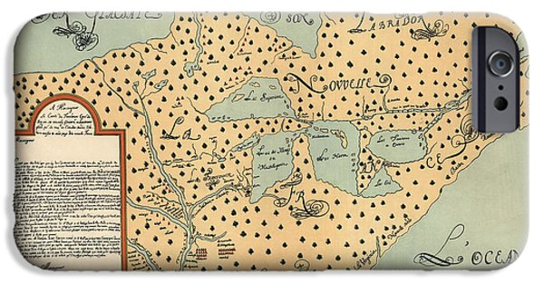 North Drawings iPhone Cases - Antique Map of North America by Louis Joliet iPhone Case by Blue Monocle