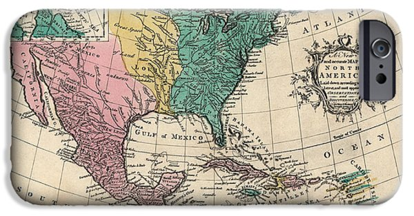 North Drawings iPhone Cases - Antique Map of North America by Richard William Seale - 1763 iPhone Case by Blue Monocle