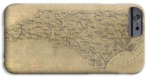 North Carolina iPhone Cases - Antique Map of North Carolina - 1893 iPhone Case by Blue Monocle
