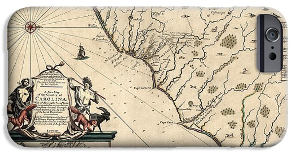 North Drawings iPhone Cases - Antique Map of North Carolina and South Carolina by Joel Gascoyne - 1682 iPhone Case by Blue Monocle