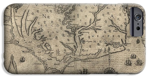 Pamlico Sound iPhone Cases - Antique Map of North Carolina and Virginia by John White - 1590 iPhone Case by Blue Monocle