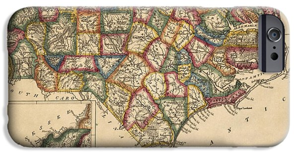 North Drawings iPhone Cases - Antique Map of North Carolina by Fielding Lucas - circa 1817 iPhone Case by Blue Monocle