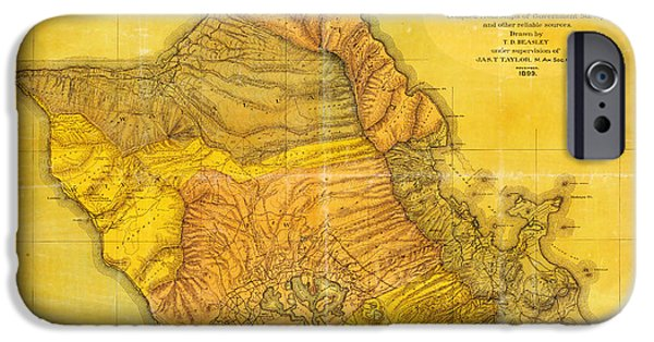 Currier iPhone Cases - Antique Map Of Oahu Hawaiian Islands iPhone Case by Jas T Taylor