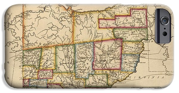 Fielding iPhone Cases - Antique Map of Ohio by Fielding Lucas - circa 1817 iPhone Case by Blue Monocle
