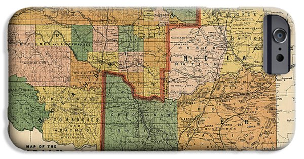 Oklahoma iPhone Cases - Antique Map of Oklahoma by Rand McNally and Company - 1892 iPhone Case by Blue Monocle