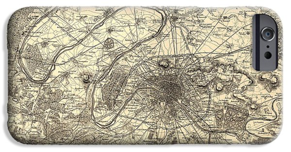 Location Drawings iPhone Cases - Antique Map of Paris 1855 iPhone Case by Mountain Dreams