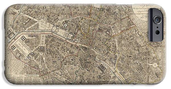 Antique Drawings iPhone Cases - Antique Map of Paris France by Ledoyen - 1823 iPhone Case by Blue Monocle
