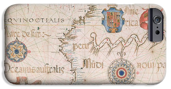 Lines Drawings iPhone Cases - Antique Map of Peru and the Amazon iPhone Case by Diego Homem