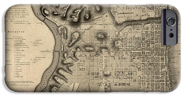 Philadelphia Drawings iPhone Cases - Antique Map of Philadelphia by John Hills - 1797 iPhone Case by Blue Monocle