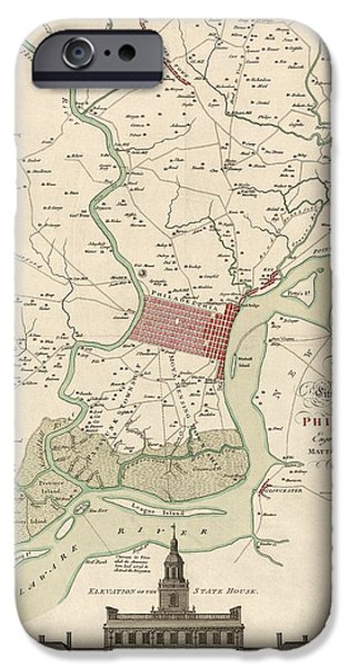 Philadelphia Drawings iPhone Cases - Antique Map of Philadelphia by Matthaus Albrecht Lotter - 1777 iPhone Case by Blue Monocle