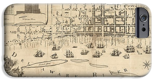 Philadelphia Drawings iPhone Cases - Antique Map of Philadelphia by Nicholas Scull - 1762 iPhone Case by Blue Monocle