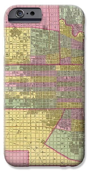 Philadelphia Drawings iPhone Cases - Antique Map of Philadelphia by Samuel Augustus Mitchell - 1849 iPhone Case by Blue Monocle