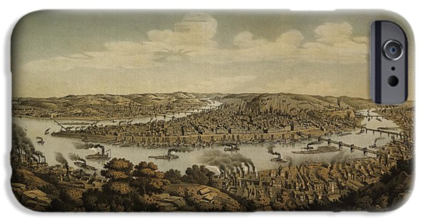 Pittsburgh iPhone Cases - Antique Map of Pittsburgh Pennsylvania by Otto Krebs - 1874 iPhone Case by Blue Monocle