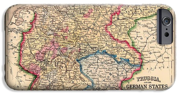 Germany Map iPhone Cases - Antique Map of Prussia and the German States 1860 iPhone Case by Mountain Dreams