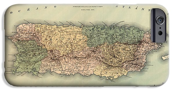 Puerto Rico iPhone Cases - Antique Map of Puerto Rico - 1886 iPhone Case by Blue Monocle
