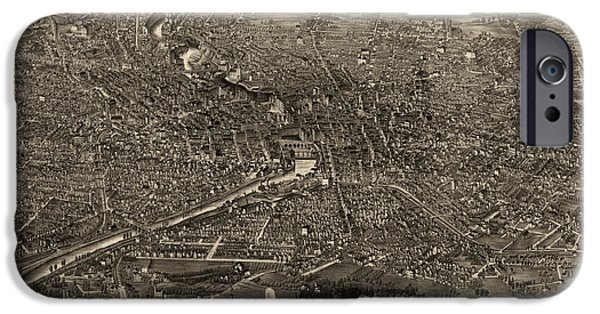 Old And New iPhone Cases - Antique Map of Rochester New York by H.H. Rowley and Co. - 1880 iPhone Case by Blue Monocle