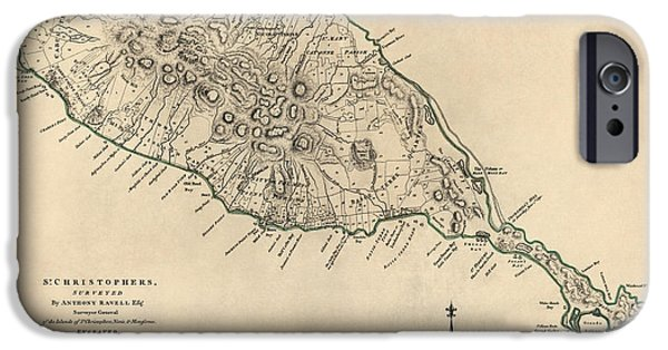 Saints Drawings iPhone Cases - Antique Map of Saint Kitts and Nevis by Thomas Jefferys - 1768 iPhone Case by Blue Monocle