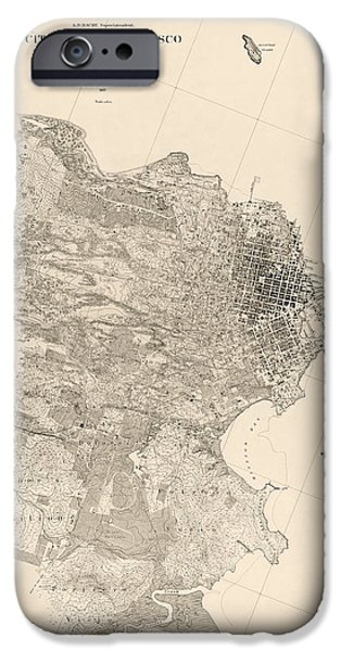 California Map iPhone Cases - Antique Map of San Francisco by A. F. Rodgers - 1857 iPhone Case by Blue Monocle