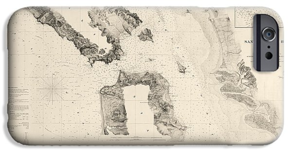 California Map iPhone Cases - Antique Map of San Francisco - USGS Coast Survey Map - 1859 iPhone Case by Blue Monocle