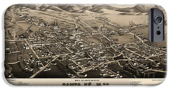 Santa Drawings iPhone Cases - Antique Map of Santa Fe New Mexico by H. Wellge - 1882 iPhone Case by Blue Monocle