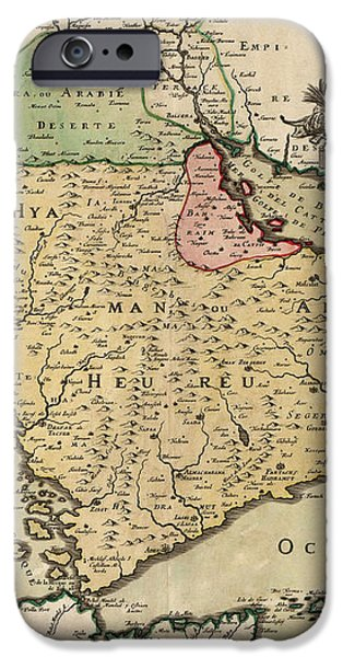 Antique Map of Saudi Arabia and the Arabian Peninsula by Nicolas Sanson - 1654 iPhone Case by Blue Monocle