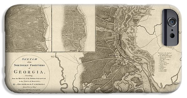 Savannah iPhone Cases - Antique Map of Savannah Georgia by Archibald Campbell - 1780 iPhone Case by Blue Monocle
