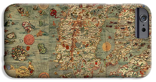 Norway Drawings iPhone Cases - Antique Map of Scandinavia 1539 iPhone Case by Mountain Dreams