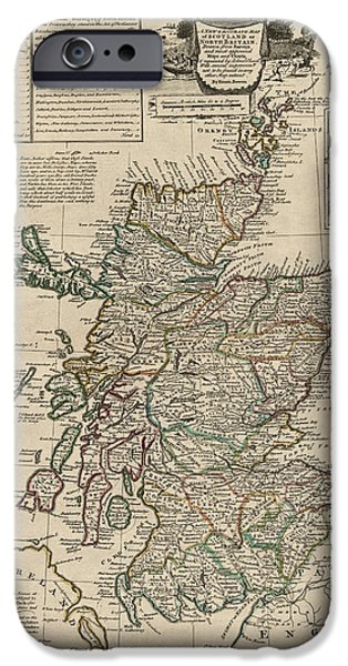 Antique Map of Scotland by Emanuel Bowen - 1752 iPhone Case by Blue Monocle