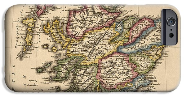 Britain iPhone Cases - Antique Map of Scotland by Fielding Lucas - circa 1817 iPhone Case by Blue Monocle