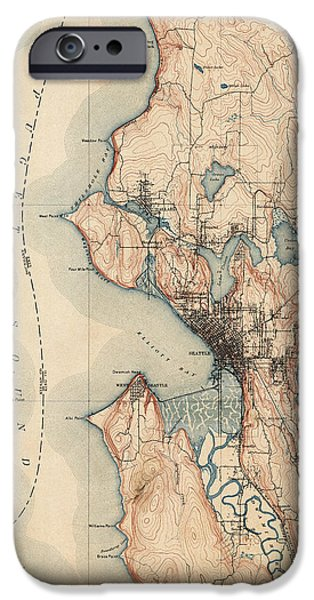 U.s. iPhone Cases - Antique Map of Seattle - USGS Topographic Map - 1894 iPhone Case by Blue Monocle
