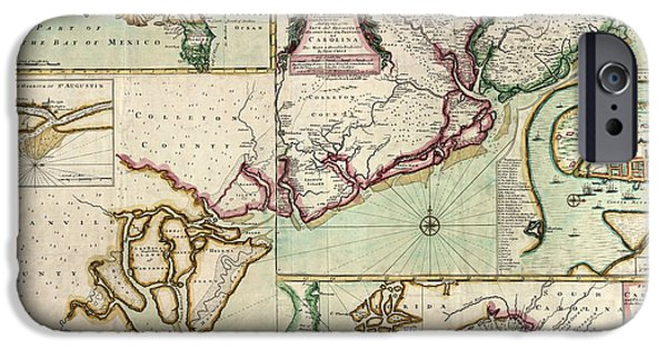 Crisp iPhone Cases - Antique Map of South Carolina by Edward Crisp - circa 1711 iPhone Case by Blue Monocle