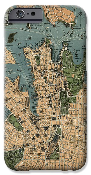 Australia Drawings iPhone Cases - Antique Map of Sydney Australia - 1922 iPhone Case by Blue Monocle
