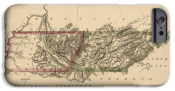Tennessee Drawings iPhone Cases - Antique Map of Tennessee by Fielding Lucas - circa 1817 iPhone Case by Blue Monocle