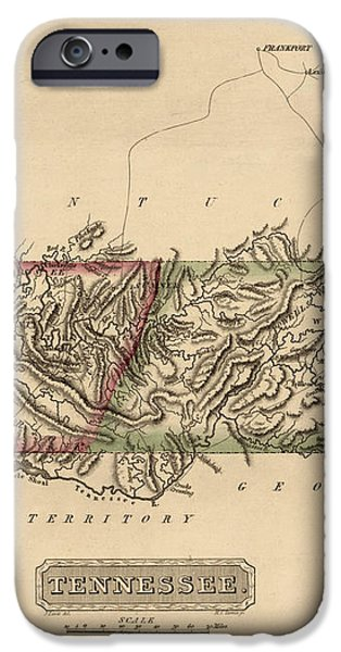 Antique Map of Tennessee by Fielding Lucas - circa 1817 iPhone Case by Blue Monocle