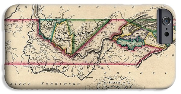 Tennessee Drawings iPhone Cases - Antique Map of Tennessee by Samuel Lewis - circa 1810 iPhone Case by Blue Monocle