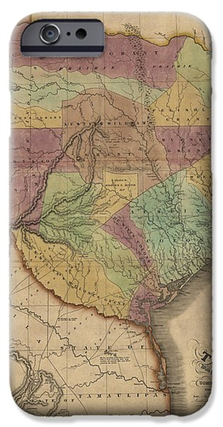 Texas Drawings iPhone Cases - Antique Map of Texas by Stephen F. Austin - 1837 iPhone Case by Blue Monocle