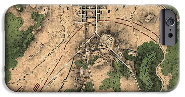War Drawings iPhone Cases - Antique Map of the Battle of Gettysburg by William H. Willcox - 1863 iPhone Case by Blue Monocle
