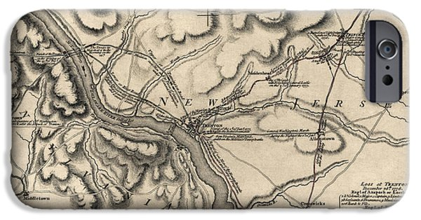 Battle iPhone Cases - Antique Map of the Battle of Trenton by William Faden - 1777 iPhone Case by Blue Monocle