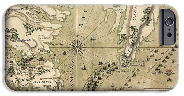 Yorktown Virginia iPhone Cases - Antique Map of the Battle of Yorktown Virginia by Esnauts et Rapilly - circa 1781 iPhone Case by Blue Monocle