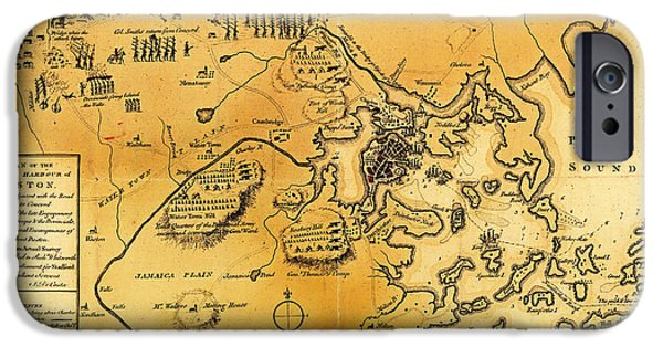 Concord Drawings iPhone Cases - Antique Map of the Battles of Lexington and Concord 1775 iPhone Case by Mountain Dreams