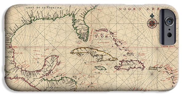 Discovery iPhone Cases - Antique Map of the Caribbean and Central America by Joan Vinckeboons - circa 1639 iPhone Case by Blue Monocle