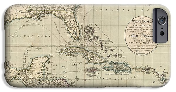West Indies iPhone Cases - Antique Map of the Caribbean and Central America by John Cary - 1783 iPhone Case by Blue Monocle