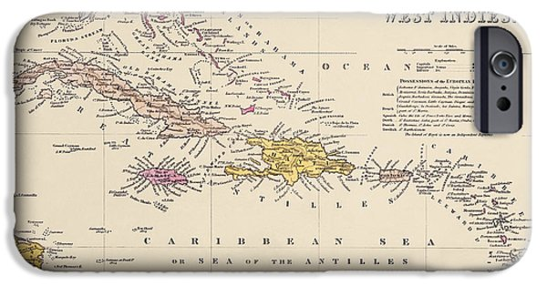 West Indies iPhone Cases - Antique Map of the Caribbean by Samuel Augustus Mitchell - 1849 iPhone Case by Blue Monocle
