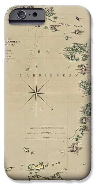 West Indies iPhone Cases - Antique Map of the Caribbean - Lesser Antilles - by Mathew Richmond - 1789 iPhone Case by Blue Monocle