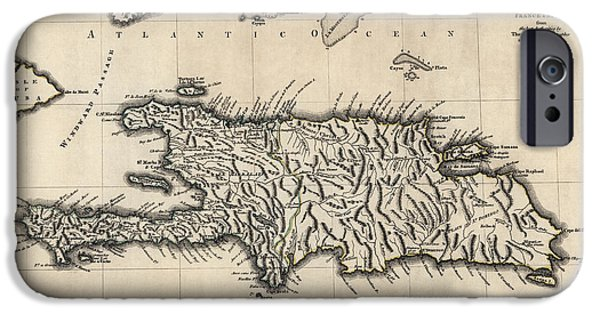 Recently Sold -  - Antiques iPhone Cases - Antique Map of the Dominican Republic and Haiti by Thomas Jefferys - 1768 iPhone Case by Blue Monocle