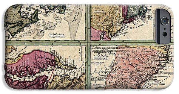 Chesapeake iPhone Cases - Antique Map of Colonial America by Homann Erben - circa 1760 iPhone Case by Blue Monocle