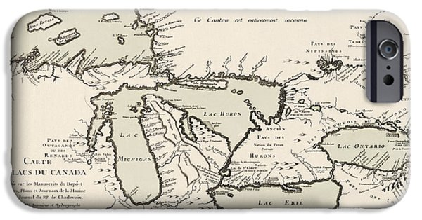 Chicago iPhone Cases - Antique Map of the Great Lakes by Jacques Nicolas Bellin - 1742 iPhone Case by Blue Monocle
