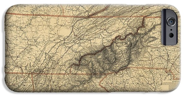 Smoky iPhone Cases - Antique Map of the Great Smoky Mountains - North Carolina and Tennessee - by W. L. Nickolson - 1864 iPhone Case by Blue Monocle